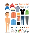 Sport boy Clothing and sports equipment for vector image