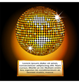 Golden disco ball plaque vector image