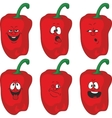 Emotion cartoon red pepper vegetables set 013 vector image vector image