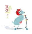 Childish Colorful Fun Cartoon Goat Riding Scooter vector image