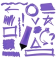 Purple Marker Set of Graphic Signs Arrows vector image