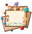 Paper design with children and planets vector image