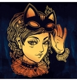 Anime or retro manga style woman with a cat mask vector image