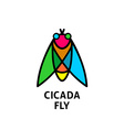 Cicada colorful symbol Insect top view logo vector image
