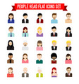 collection of people head flat icon set isolated vector image