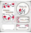 Wedding invitation cards and tag wedding set vector image