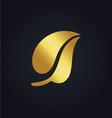 gold leaf nature organic logo vector image