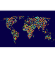 World map made of abstract colorful dots network vector image vector image