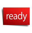 ready red paper sign on white background vector image