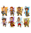 cartoon warrior with sword and axe character set vector image