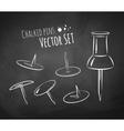 Chalkboard drawing of push pin vector image