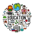 Education concept round label vector image