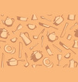 seamless background of kitchen ware vector image