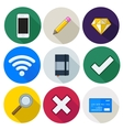 Set of icons pencil wifi diamond vector image