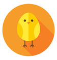 Yellow Chicken Circle Icon with long Shadow vector image