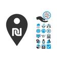 Shekel Map Marker Flat Icon With Bonus vector image