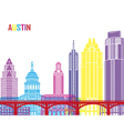 Austin skyline pop vector image