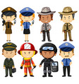 People in different job uniforms vector image