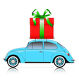 blue car with present vector image vector image