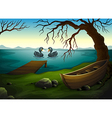 A boat under the tree near the sea with two ducks vector image