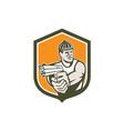 Robber Pointing Gun Shield Retro vector image