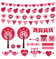 Valentines Day design elements set vector image vector image
