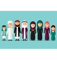 Arab family flat muslim characters vector image