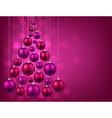 Christmas tree with purple christmas balls vector image