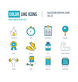color thin line icons set healthy lifestyle and vector image