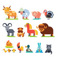 farm animals set domestic farming vector image