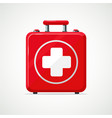 first aid kit isolated on white red box with vector image