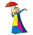 Happy singing woman in crown with umbrella vector image