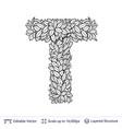 letter t symbol of white leaves vector image