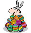 man in easter bunny costume cartoon vector image