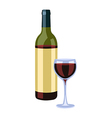 Bottle and wine glass vector image