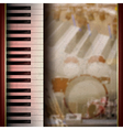 Abstract grunge background with piano on brown vector image