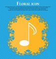 Music note sign icon Musical symbol Floral flat vector image