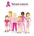Breast cancer awareness pink women support vector image