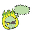 cartoon skull with eye patch with speech bubble vector image