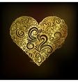 Golden heart on black background vector image