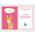 Baby shower invitation card template with giraffee vector image