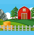 background scene with barn and hay vector image