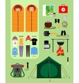 Camping concept Boy and girl in sleeping bags vector image
