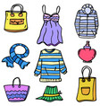 doodle of women clothes style set vector image