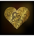 Golden heart on black background vector image