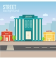 library building in city space with road on flat vector image