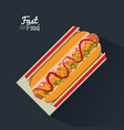 poster fast food in black background with hotdog vector image