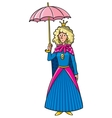 Queen in crown with umbrella vector image