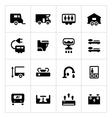 Set icons of camper caravan trailer vector image