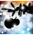 silhouette of a christmas tree with bulbs vector image